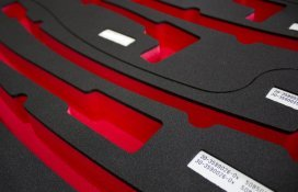Red and black foam mould